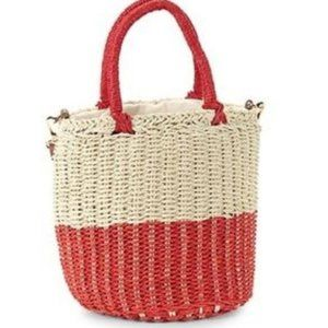 String Straw Colorblock Bucket Bag Red
